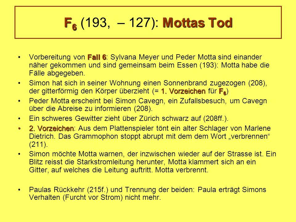 Fall 6Vorbereitung von Fall 6: Sylvana Meyer und Peder Motta sind einander näher gekommen und sind gemeinsam beim Essen (193): Motta habe die Fälle abgegeben.