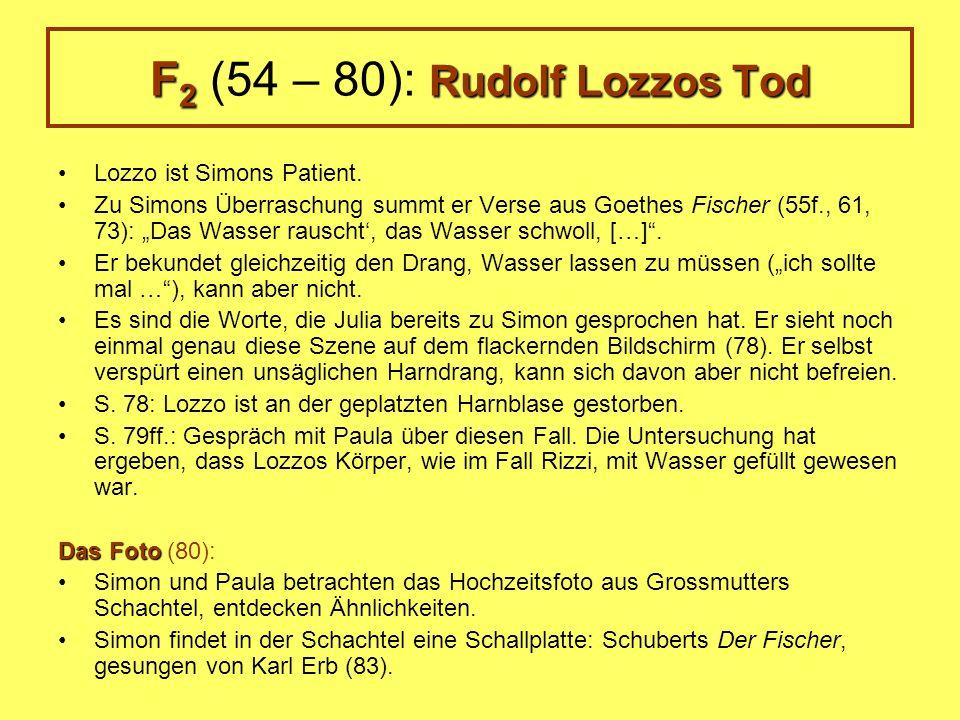F 2 Rudolf Lozzos Tod F 2 (54 – 80): Rudolf Lozzos Tod Lozzo ist Simons Patient. Zu Simons Überraschung summt er Verse aus Goethes Fischer (55f., 61,