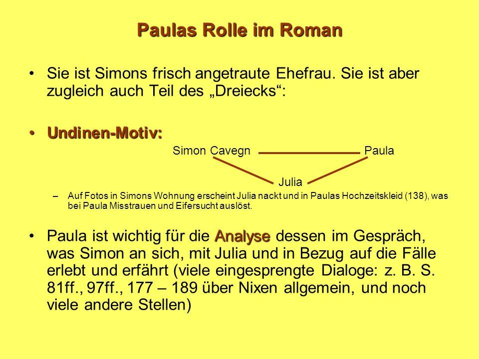 Paulas Rolle im Roman Sie ist Simons frisch angetraute Ehefrau. Sie ist aber zugleich auch Teil des Dreiecks: Undinen-Motiv:Undinen-Motiv: Simon Caveg