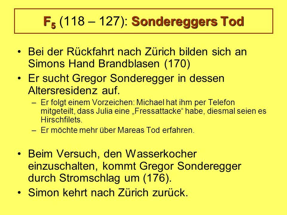 F 5 Sondereggers Tod F 5 (118 – 127): Sondereggers Tod Bei der Rückfahrt nach Zürich bilden sich an Simons Hand Brandblasen (170) Er sucht Gregor Sonderegger in dessen Altersresidenz auf.