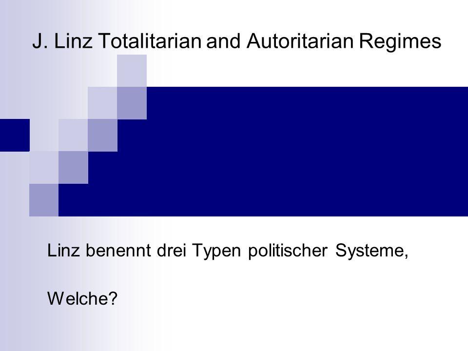 Drei Typen politischer Systeme Repräsentative Demokratie Oligarchie Sozialismus Autoritarismus Feudalherrschaft Militärregime Defekte Demokratie Ethnische Demokratie Totalitarismus Kommunismus