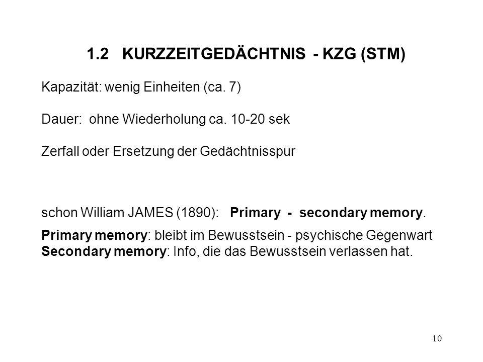 10 1.2 KURZZEITGEDÄCHTNIS - KZG (STM) Kapazität: wenig Einheiten (ca. 7) Dauer: ohne Wiederholung ca. 10-20 sek Zerfall oder Ersetzung der Gedächtniss