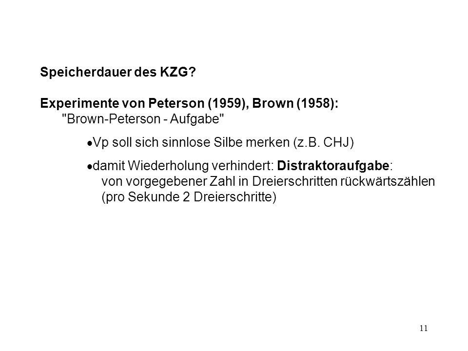 11 Speicherdauer des KZG? Experimente von Peterson (1959), Brown (1958):