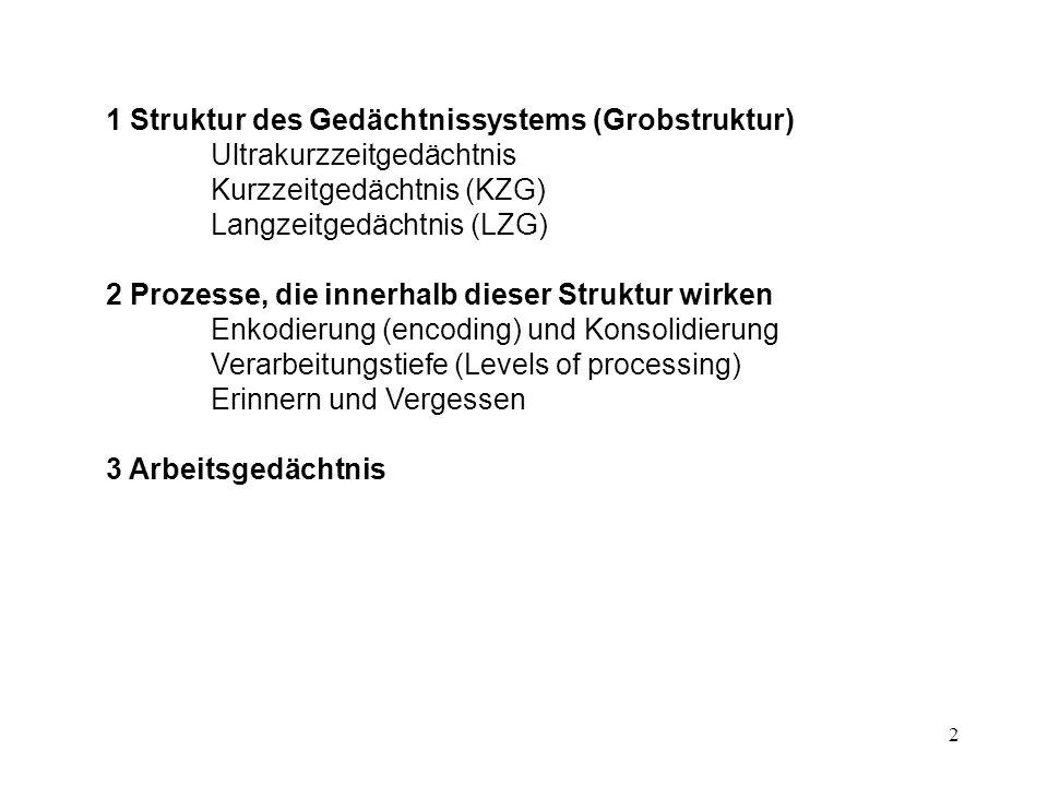 2 1 Struktur des Gedächtnissystems (Grobstruktur) Ultrakurzzeitgedächtnis Kurzzeitgedächtnis (KZG) Langzeitgedächtnis (LZG) 2 Prozesse, die innerhalb