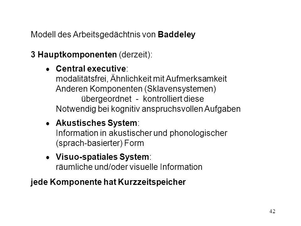 42 Modell des Arbeitsgedächtnis von Baddeley 3 Hauptkomponenten (derzeit): Central executive: modalitätsfrei, Ähnlichkeit mit Aufmerksamkeit Anderen K