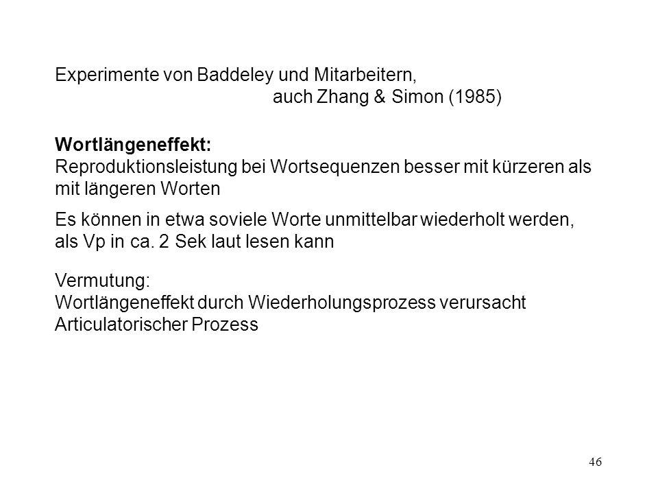 46 Experimente von Baddeley und Mitarbeitern, auch Zhang & Simon (1985) Wortlängeneffekt: Reproduktionsleistung bei Wortsequenzen besser mit kürzeren