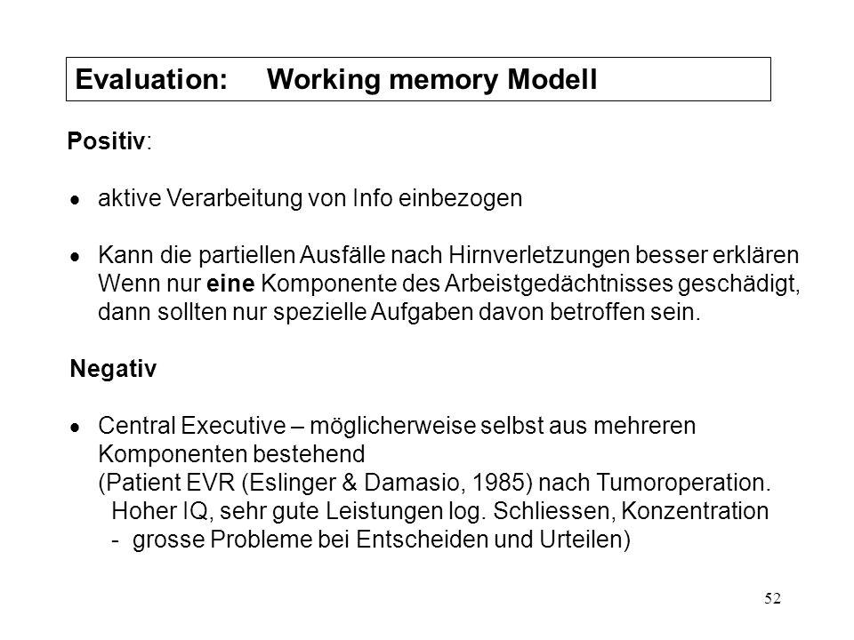 52 Evaluation: Working memory Modell Positiv: aktive Verarbeitung von Info einbezogen Kann die partiellen Ausfälle nach Hirnverletzungen besser erklär