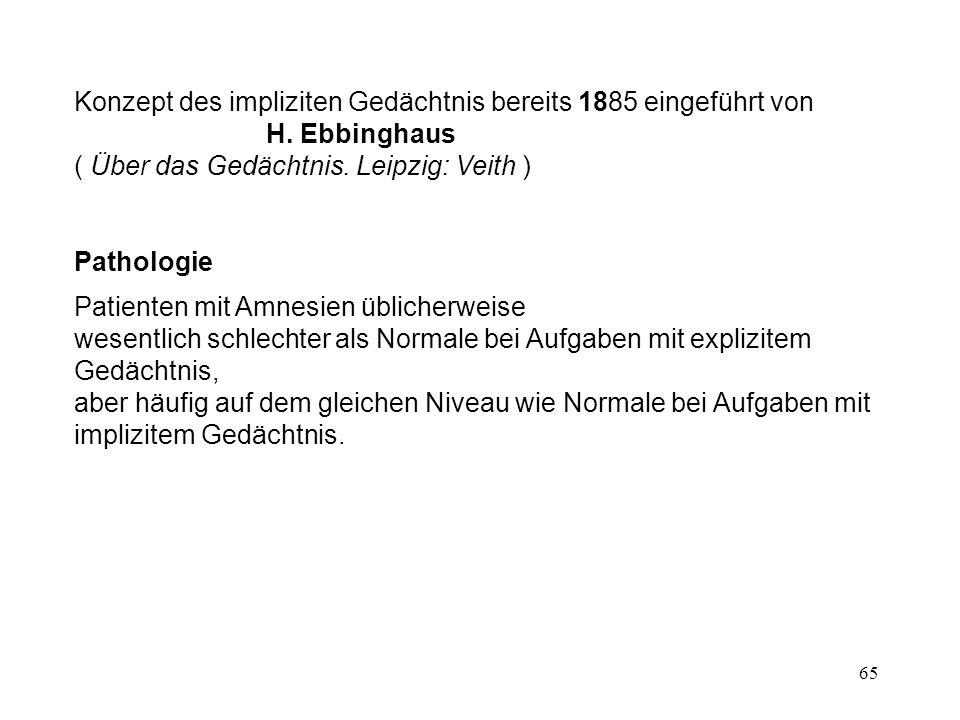 65 Konzept des impliziten Gedächtnis bereits 1885 eingeführt von H. Ebbinghaus ( Über das Gedächtnis. Leipzig: Veith ) Pathologie Patienten mit Amnesi