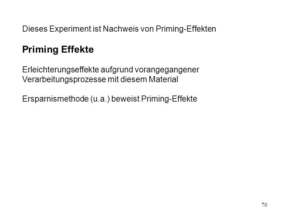 70 Dieses Experiment ist Nachweis von Priming-Effekten Priming Effekte Erleichterungseffekte aufgrund vorangegangener Verarbeitungsprozesse mit diesem