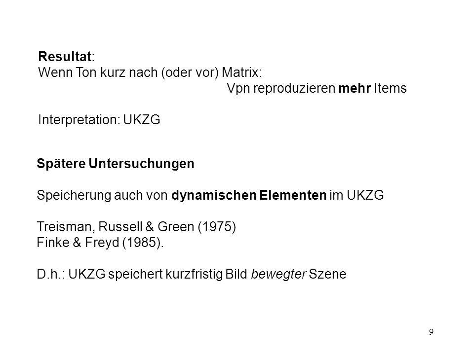 9 Spätere Untersuchungen Speicherung auch von dynamischen Elementen im UKZG Treisman, Russell & Green (1975) Finke & Freyd (1985). D.h.: UKZG speicher