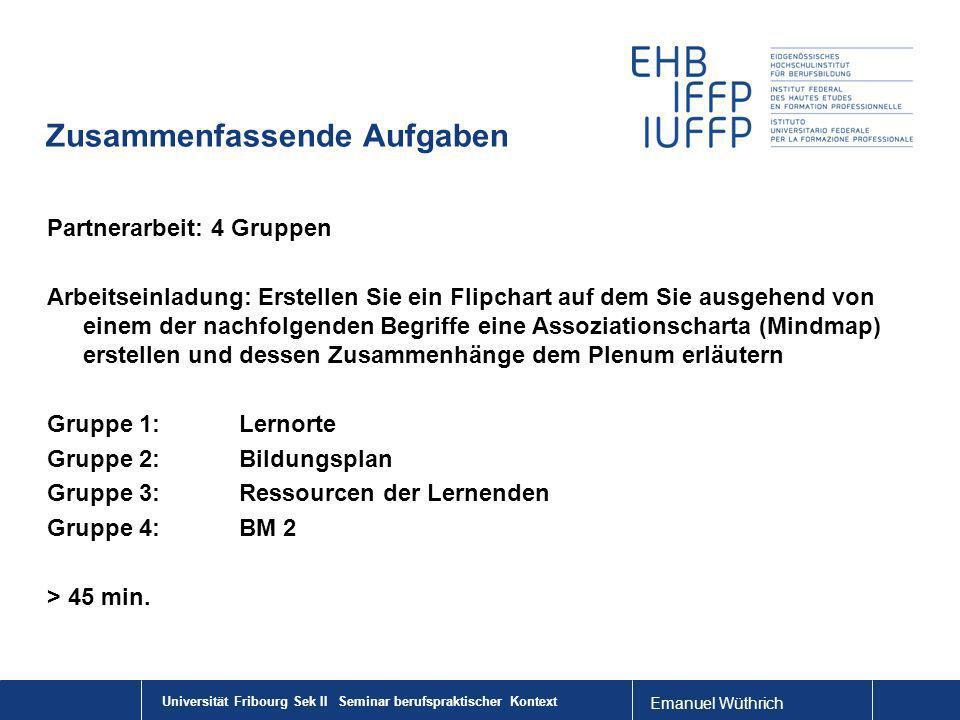 Emanuel Wüthrich Zusammenfassende Aufgaben Partnerarbeit: 4 Gruppen Arbeitseinladung: Erstellen Sie ein Flipchart auf dem Sie ausgehend von einem der