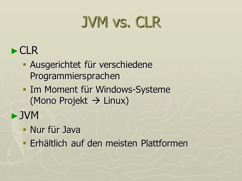 JVM vs. CLR CLR CLR Ausgerichtet für verschiedene Programmiersprachen Ausgerichtet für verschiedene Programmiersprachen Im Moment für Windows-Systeme