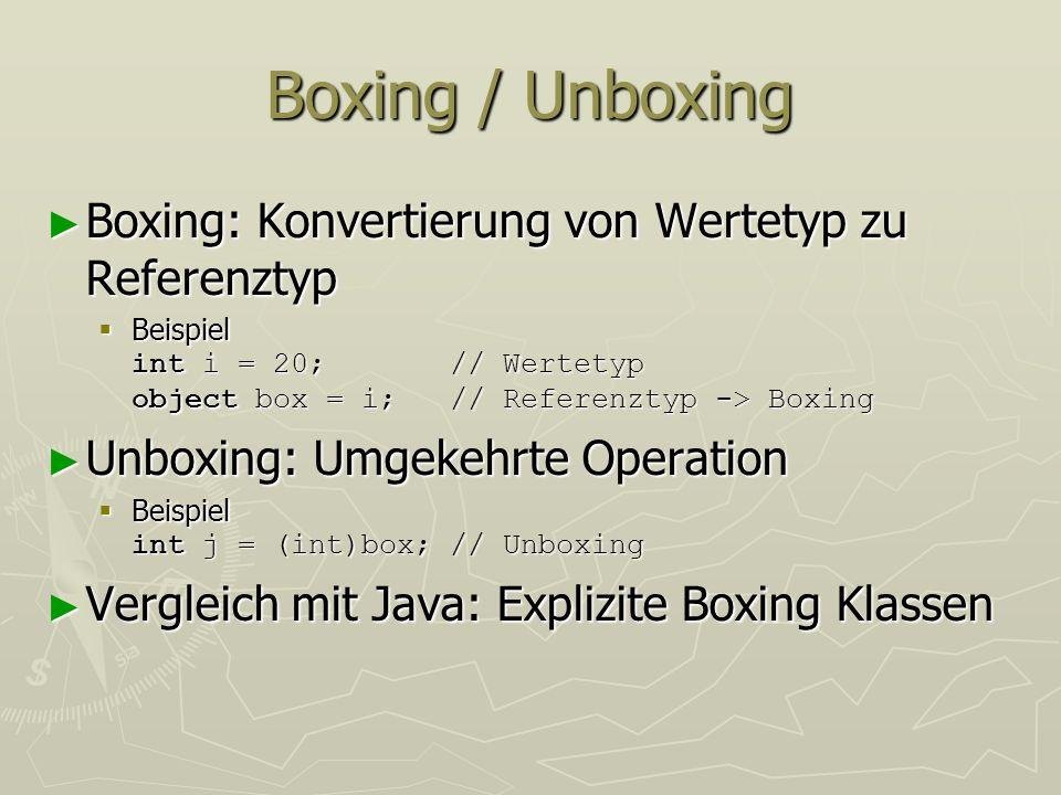 Boxing / Unboxing Boxing: Konvertierung von Wertetyp zu Referenztyp Boxing: Konvertierung von Wertetyp zu Referenztyp Beispiel int i = 20; // Wertetyp