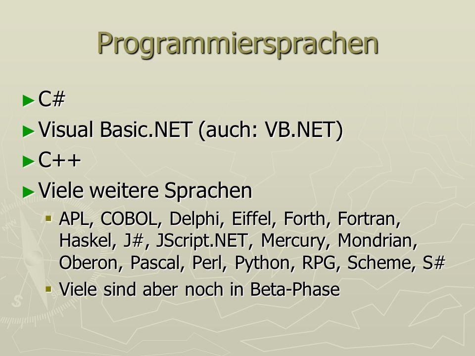 Programmiersprachen C# C# Visual Basic.NET (auch: VB.NET) Visual Basic.NET (auch: VB.NET) C++ C++ Viele weitere Sprachen Viele weitere Sprachen APL, C