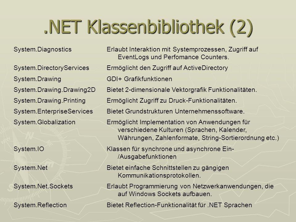 .NET Klassenbibliothek (2) System.DiagnosticsErlaubt Interaktion mit Systemprozessen, Zugriff auf EventLogs und Perfomance Counters. System.DirectoryS