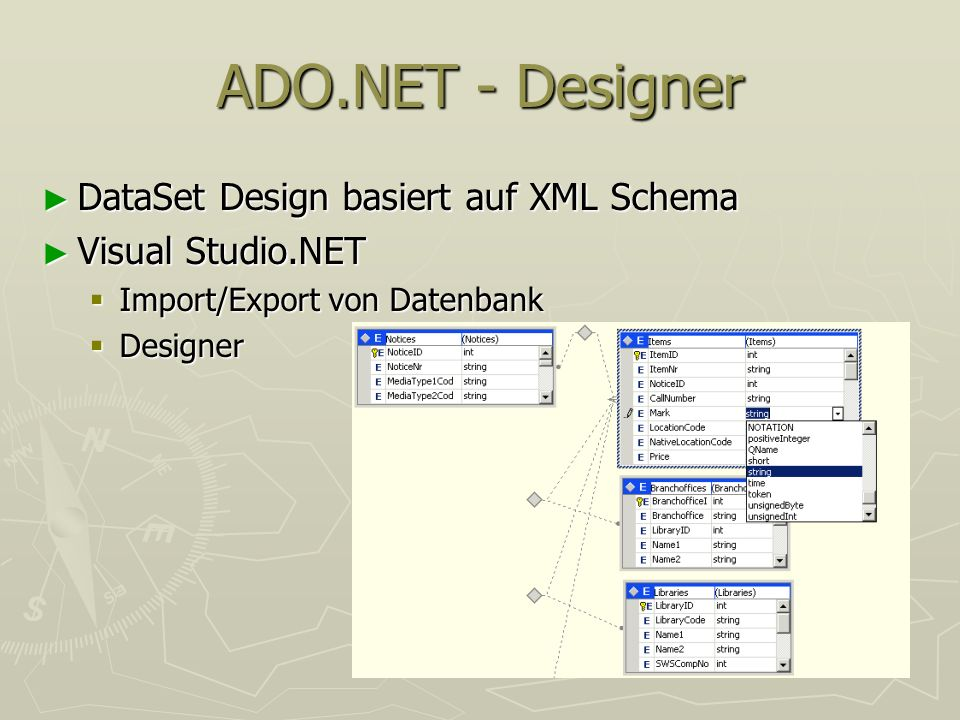 ADO.NET - Designer DataSet Design basiert auf XML Schema DataSet Design basiert auf XML Schema Visual Studio.NET Visual Studio.NET Import/Export von D