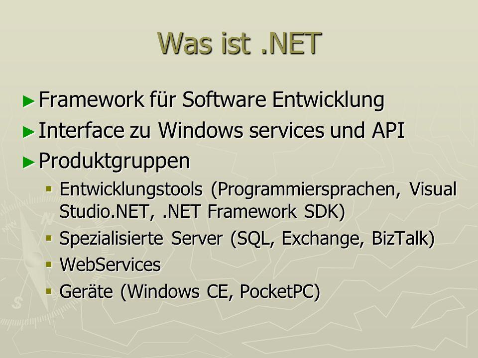 Was ist.NET Framework für Software Entwicklung Framework für Software Entwicklung Interface zu Windows services und API Interface zu Windows services