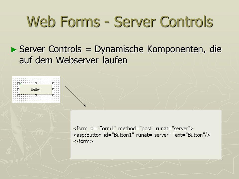 Web Forms - Server Controls Server Controls = Dynamische Komponenten, die auf dem Webserver laufen Server Controls = Dynamische Komponenten, die auf d