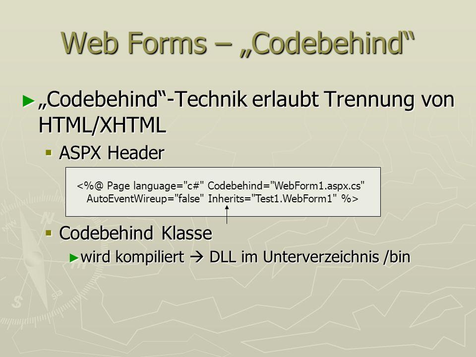 Web Forms – Codebehind Codebehind-Technik erlaubt Trennung von HTML/XHTML Codebehind-Technik erlaubt Trennung von HTML/XHTML ASPX Header ASPX Header C
