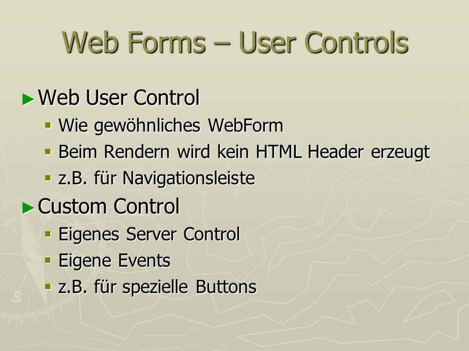 Web Forms – User Controls Web User Control Web User Control Wie gewöhnliches WebForm Wie gewöhnliches WebForm Beim Rendern wird kein HTML Header erzeu