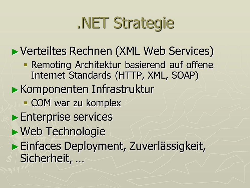 .NET Strategie Verteiltes Rechnen (XML Web Services) Verteiltes Rechnen (XML Web Services) Remoting Architektur basierend auf offene Internet Standard