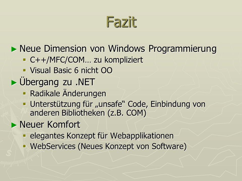 Fazit Neue Dimension von Windows Programmierung Neue Dimension von Windows Programmierung C++/MFC/COM… zu kompliziert C++/MFC/COM… zu kompliziert Visu