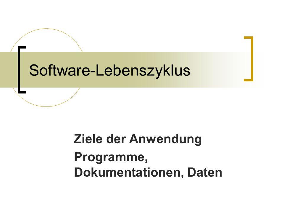 Software-Lebenszyklus Ziele der Anwendung Programme, Dokumentationen, Daten