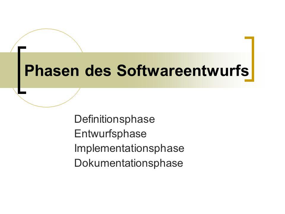 Phasen des Softwareentwurfs Definitionsphase Entwurfsphase Implementationsphase Dokumentationsphase
