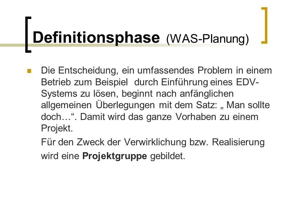 Definitionsphase (WAS-Planung) Die Entscheidung, ein umfassendes Problem in einem Betrieb zum Beispiel durch Einführung eines EDV- Systems zu lösen, b