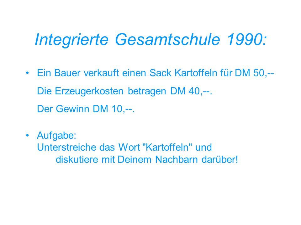 Gymnasium 1980: Ein Agrarökonom verkauft eine Menge subterraner Feldfrüchte für eine Menge Geld (G). G hat die Mächtigkeit von 50. Für ein Element aus