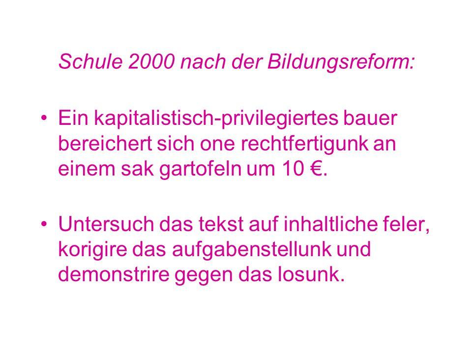 Integrierte Gesamtschule 1990: Ein Bauer verkauft einen Sack Kartoffeln für DM 50,-- Die Erzeugerkosten betragen DM 40,--. Der Gewinn DM 10,--. Aufgab