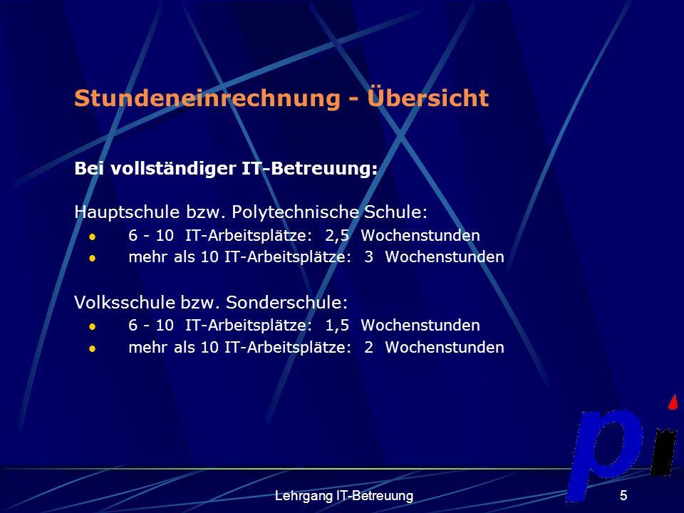 Lehrgang IT-Betreuung5 Stundeneinrechnung - Übersicht Bei vollständiger IT-Betreuung: Hauptschule bzw.