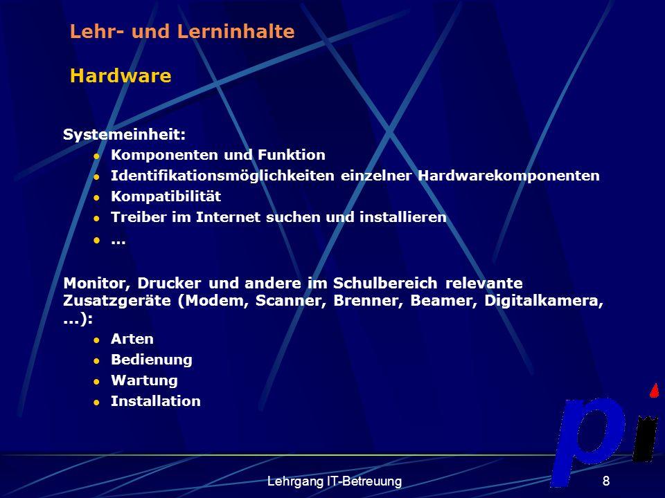 Lehrgang IT-Betreuung9 Netzwerk Grundbegriffe: Netzwerktopologien Hubs, Switches,..