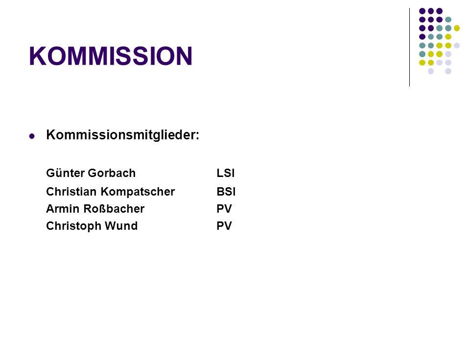 KOMMISSION Kommissionsmitglieder: Günter Gorbach LSI Christian Kompatscher BSI Armin Roßbacher PV Christoph Wund PV