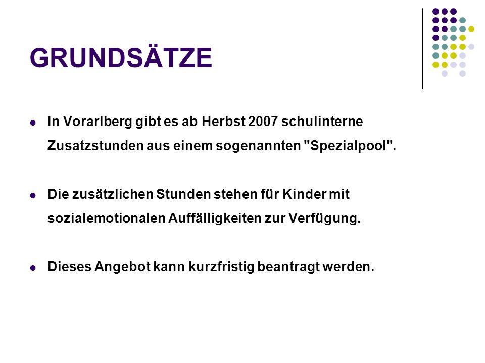 GRUNDSÄTZE In Vorarlberg gibt es ab Herbst 2007 schulinterne Zusatzstunden aus einem sogenannten