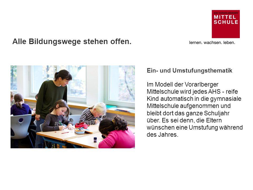 Ein- und Umstufungsthematik Im Modell der Vorarlberger Mittelschule wird jedes AHS - reife Kind automatisch in die gymnasiale Mittelschule aufgenommen