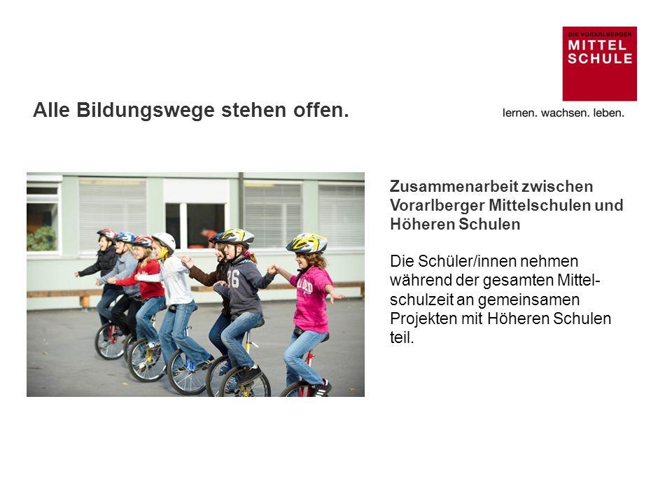 Zusammenarbeit zwischen Vorarlberger Mittelschulen und Höheren Schulen Die Schüler/innen nehmen während der gesamten Mittel- schulzeit an gemeinsamen