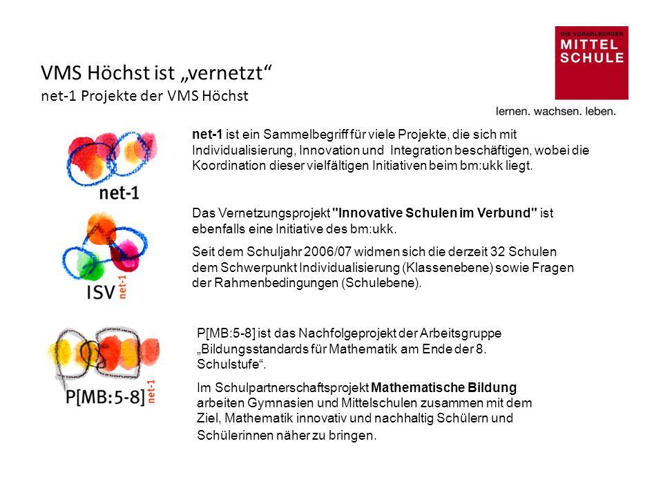 VMS Höchst ist vernetzt net-1 Projekte der VMS Höchst Das Vernetzungsprojekt