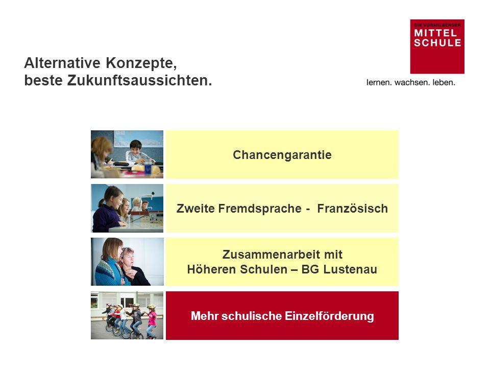 Zusammenarbeit zwischen Vorarlberger Mittelschulen und Höheren Schulen Das fortschrittliche Modell der Vorarlberger Mittelschule wurde von den Hauptschulen und den Gymnasien gemeinsam entwickelt.