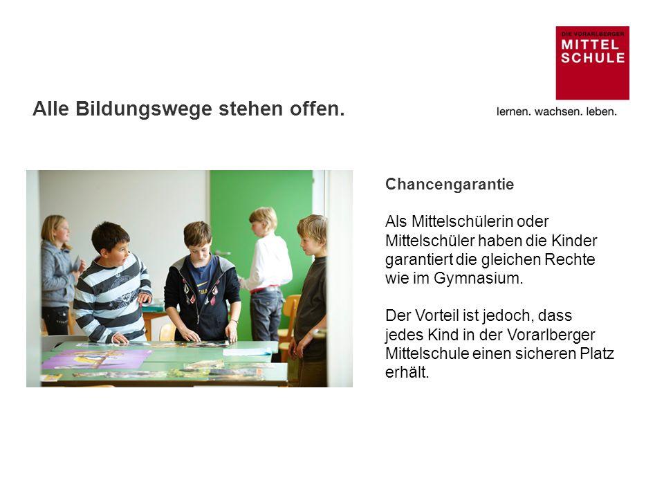 Zusammenarbeit zwischen Vorarlberger Mittelschulen und Höheren Schulen Die Schüler/innen nehmen während der gesamten Mittel- schulzeit an gemeinsamen Projekten mit Höheren Schulen teil.