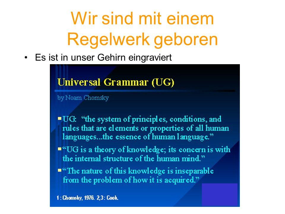 Noam Chomsky s Innate Hypothesis (1) Kinder (sogar mit IQ von 50) können eine Sprache erwerben.