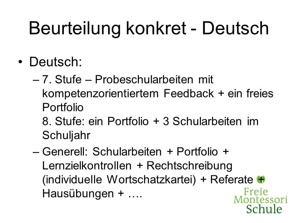 Beurteilung konkret - Deutsch Deutsch: –7. Stufe – Probeschularbeiten mit kompetenzorientiertem Feedback + ein freies Portfolio 8. Stufe: ein Portfoli