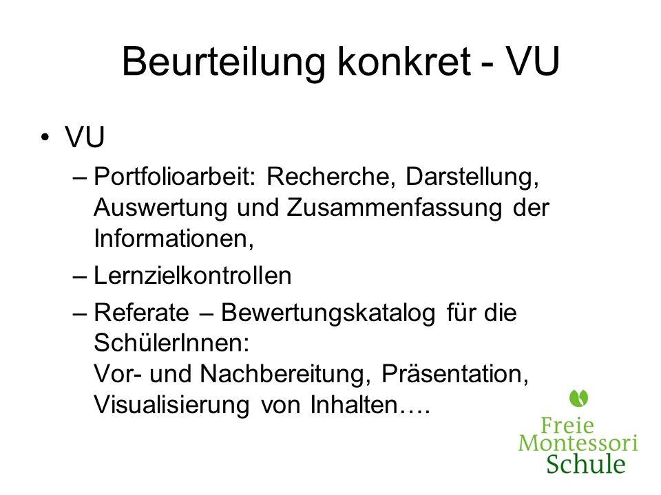 Beurteilung konkret - VU VU –Portfolioarbeit: Recherche, Darstellung, Auswertung und Zusammenfassung der Informationen, –Lernzielkontrollen –Referate