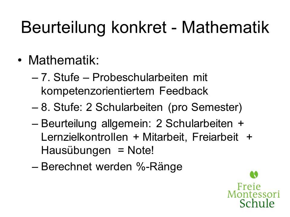 Beurteilung konkret - Mathematik Mathematik: –7. Stufe – Probeschularbeiten mit kompetenzorientiertem Feedback –8. Stufe: 2 Schularbeiten (pro Semeste