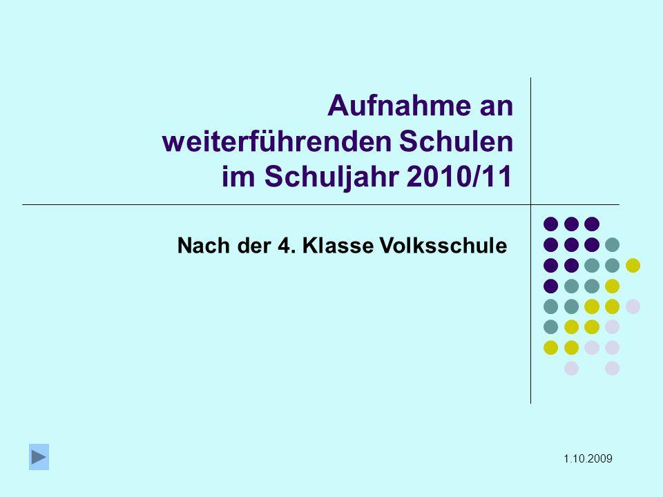 Aufnahme an weiterführenden Schulen im Schuljahr 2010/11 Nach der 4. Klasse Volksschule 1.10.2009