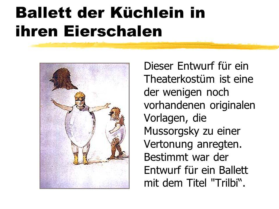 Ballett der Küchlein in ihren Eierschalen Dieser Entwurf für ein Theaterkostüm ist eine der wenigen noch vorhandenen originalen Vorlagen, die Mussorgs