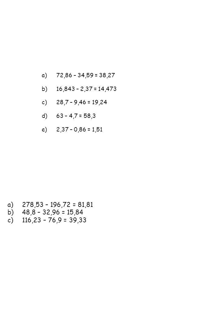 a)278,53 – 196,72 = 81,81 b)48,8 – 32,96 = 15,84 c)116,23 – 76,9 = 39,33 a)72,86 – 34,59 = 38,27 b)16,843 – 2,37 = 14,473 c)28,7 – 9,46 = 19,24 d)63 –