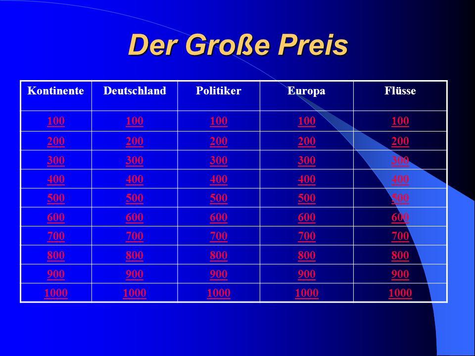 Der Große Preis KontinenteDeutschlandPolitikerEuropaFlüsse 100 200 300 400 500 600 700 800 900 1000