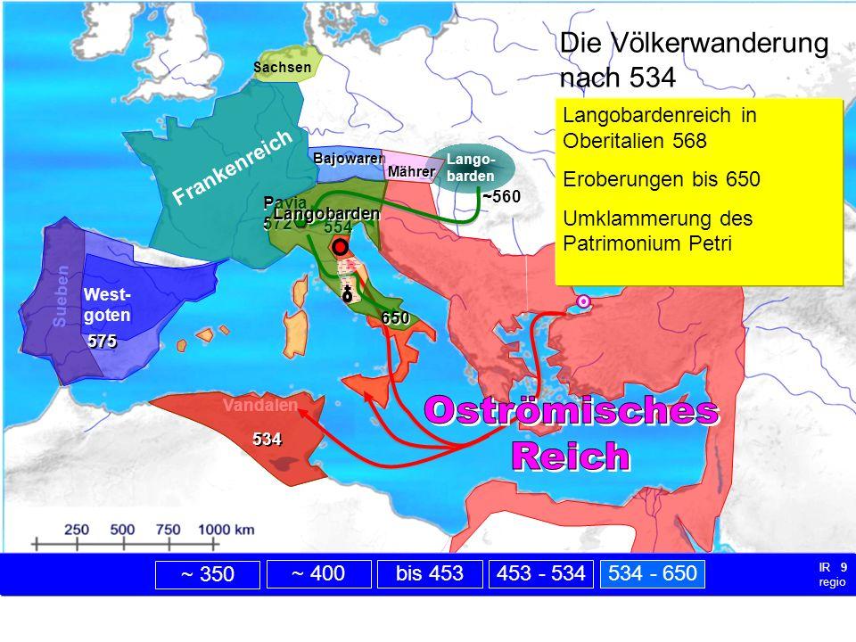 nach 534 Lango- barden Sueben Vandalen Sachsen Bajowaren Mährer Die Völkerwanderung nach 534 Frankenreich Nach Theoderichs Tod interne Konflikte unter seinen Nachfolgern: ostr.