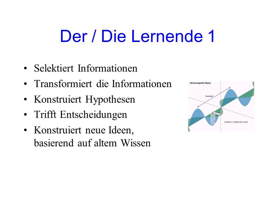 Der / Die Lernende 1 Selektiert Informationen Transformiert die Informationen Konstruiert Hypothesen Trifft Entscheidungen Konstruiert neue Ideen, basierend auf altem Wissen